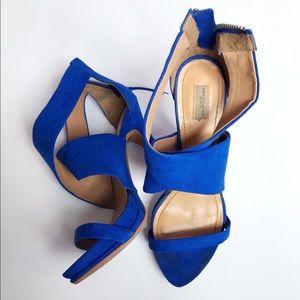 Zara blue faux suede heels